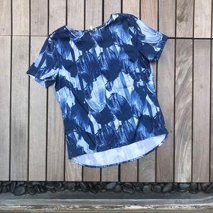 H&M | Blue Petal Floral Top with Half Zip on Back